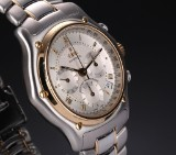 Ebel 'Le Modulor'. Men's chronograph, 18 kt. gold and steel, c. 2000