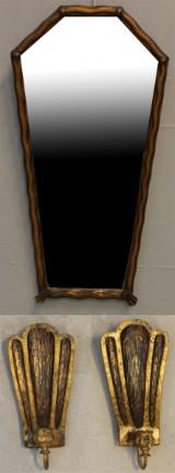 Spegel  med appliquer, ett par, 1940-tal (3)