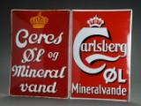 Emaljeskilte. Carlsberg Øl Mineralvande og Ceres øl og Mineralvand