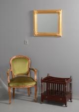 Armstol og canterbury / avisholder, samt spejl (3)