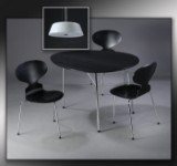 Arne Jacobsen. Anniversary set: Egg table, three chairs model 3100 and a Stelling pendant (5)