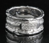 Diamond ring in 18kt. white gold, handmade, approx. 0.10ct.