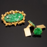 Set of jewellery with jade, 750 gold