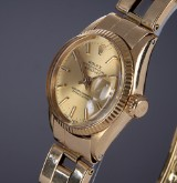 Rolex Datejust. A vintage ladies watch, 18 kt. gold, with champagne-coloured dial, c. 1965