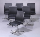 Arne Jacobsen. Set of six chairs, Oxford Chair, Model 3171, black leather (6)