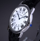 Cartier 'Ronde Sole' unisex watch, steel, silver-coloured dial, date, c. 2010