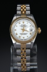 Rolex 'Datejust Lady' watch, 18 kt. gold and steel, white dial, c. 1993