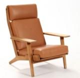H. J. Wegner. Højrygget lænestol, model GE-290, nybetrukket