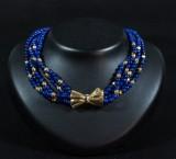 Collier lapis lazuli med lås 18K