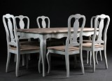 Dining table and six chairs, model Fayence,white-painted wood