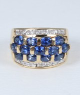 Sapphire and diamond ring, 18 kt. gold. London, 20th century-second half