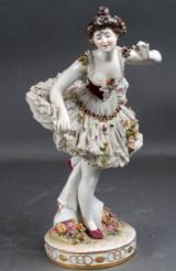 Volkstedt, Rudolfstadt, Tyskland. Porcelænsfigur af ballerina, 1900-tallets første halvdel