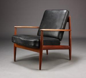 lænestol teak Grethe Jalk, lænestol, teak/sort læder | Lauritz.com lænestol teak