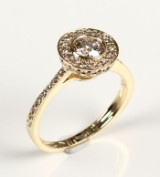 Ring, 14 kt gold, with diamonds