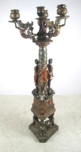 Stor trearmet lampe i bronze, forskellige stile