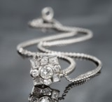 Platinum necklace featuring brilliant-cut diamonds and diamonds - approx. 1.57 ct.