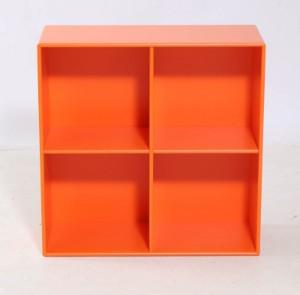 Peter J.Lassen. Montana 1112 module dybde 30 cm - Dk, Aalborg, Nibevej  - Peter J. Lassen. Montana model 1112. Modulet er åbent med fire rum. modulet er produceret i 12 mm MDF som derefter er lakeret med vandbaseret lak farve 126 yoko orange. H. 69,6 x B. 69,6 x D. 30 cm.ophæng følger løst med. Udsti - Dk, Aalborg, Nibevej
