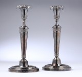 Pair of French late Empire silver candle sticks, Paris, 1834 (2)
