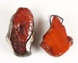 Uforarbejdede ravklumper, indfattet i metal, ca. 101 gram (2)