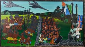Msagula, olie på masonit, afrikansk motiv - Dk, Odense, Kratholmvej - Afrikansk motiv af Msagula. TingaTinga-stil, olie på masonit, sign. Mål med ramme, 93,5x169 cm. Fremstår med flere ridser. - Dk, Odense, Kratholmvej