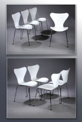 Arne Jacobsen. A set of eight 'Series 7' chairs, model 3107, white, seat height , 46.5 cm. (8)