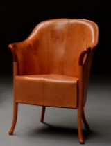 Umberto Asnago for Giorgetti. Easy chair, model Progetti, vegetable-tanned harness leather