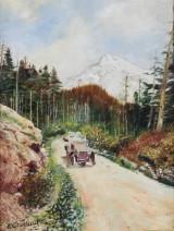 Landskap med bil, olja på pannå