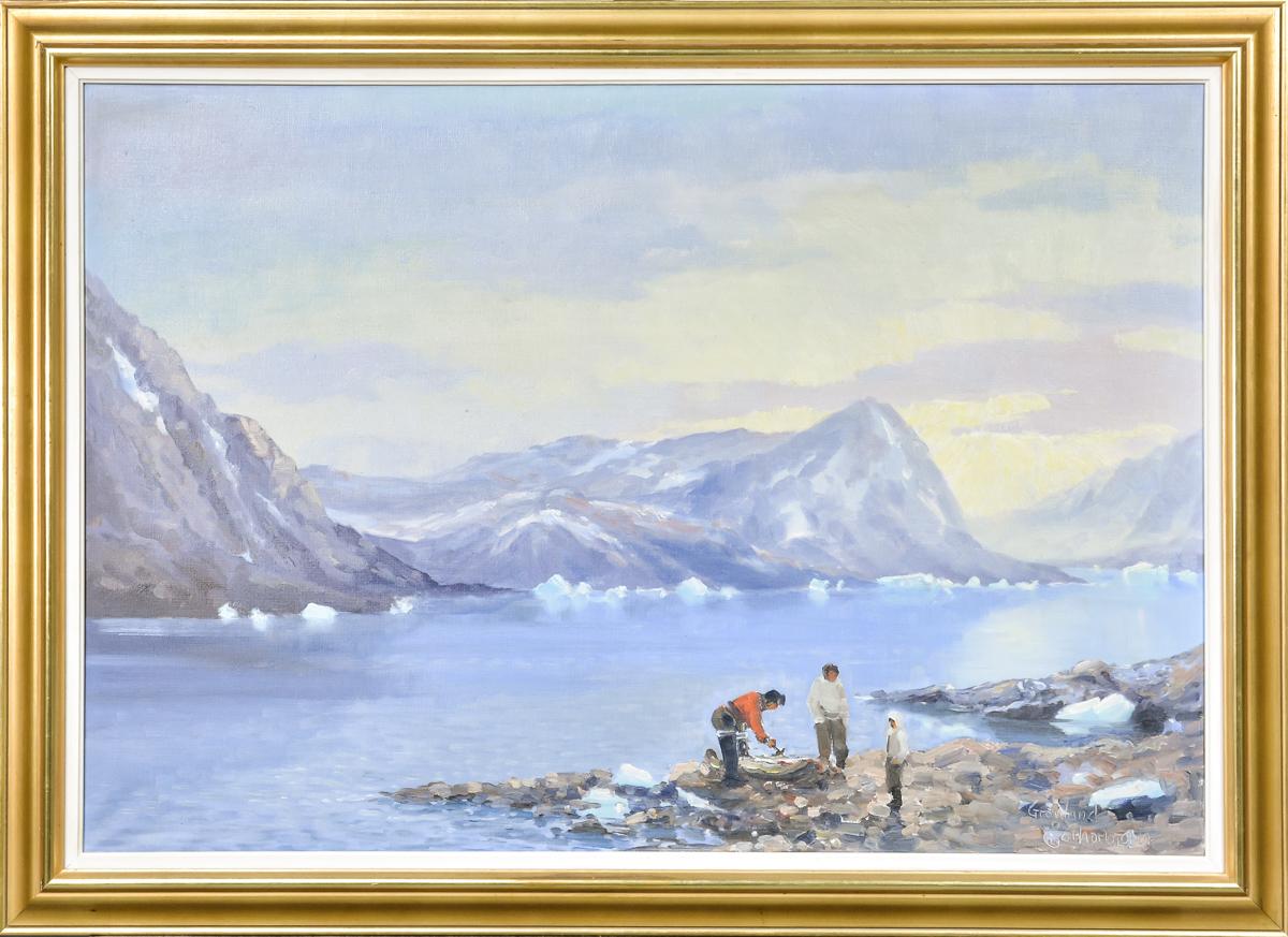 Evelyn Thorbjørn, olie på lærred, parti fra Grønland (cd) - Parti fra Grønland af Evelyn Thorbjørn (1911-1985), olie på lærred, sign. E. Thorbjørn, 67x97 cm. (81x113 cm)