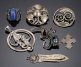 Samling sølvsmykker (7)