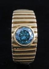 18kt blue diamond men`s ring approx. 1.52ct