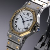 Cartier Santos midsize ladies' watch, 18 kt. gold and steel, white dial, 1990's