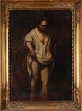Ubekendt kunstner, kopi efter Rembrandt. 'Kvinde, badende i flod', 1900-tallet