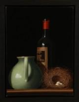 Erling Steen. 'Chateau Nenin Wine Bottle'. Olie på lærred