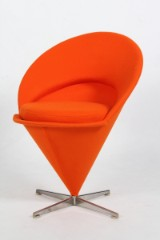 Verner Panton. Cone Chair, new upholstery with Divina wool from Kvadrat