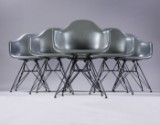Charles Eames. A set of six armchairs, model DAR, colour Basalt (6)