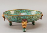 A Chinese bowl with cloissoné enamel, Qing 19th century