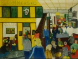 Ubekendt kunstner, olie på lærred, interiør fra Café Sommersko