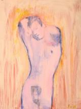 Jack O'Neil Erotisk komposition, akryl og olie på lærred, 'Nathaniel'