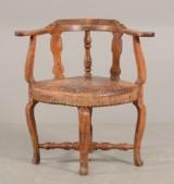 Barok hjørnestol af bøg / læder, 1700-tallet