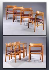 Børge Mogensen, sæt på otte armstole af eg, model BM1 (8)