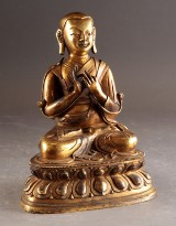 Sino-tibetansk figur af Tsongkhapa, forgyldt bronze, Qing eller senere
