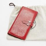 Hermès, plånbok, Bearn i röd lizard skinn