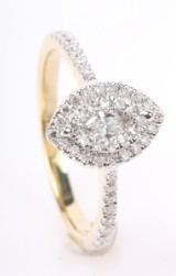 Navette/Marquise ring m. brillanter, 14 kt guld, ca. 0.48 ct