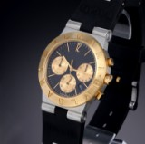 Bvlgari 'Diagono Chronograph'. Men's watch in 18 kt. gold and steel with black dial, 1990s