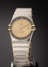 Omega Constellation men's watch, 18 kt. gold and steel, with date