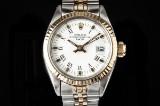 Rolex Date ladies watch, 18 kt. gold and steel, ref. 6917. c. 1982