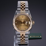 Rolex 'Datejust'. Men's watch, 18 kt. gold and steel, with diamond dial, c. 1991