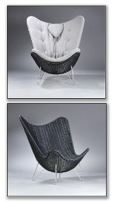 Knud Vinther, Corollo.dk 4 easy chair, natural cane with Seasalt II coloured cushion
