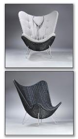 Knud Vinther, Corollo.dk 4 lænestol i naturflet, med Seasalt II farvet hynde