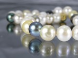 South Sea and Tahitian pearl necklace, gold clasp